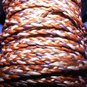 Fonott bőrszíj - 5x2 mm (2. minta - LAPOS/0,5 m) - vegyes színben, Vegyes alapanyag, Egyéb alapanyag,  Fonott bőrszíj (2. minta) - lapos - vegyes színbenValódi bőr alapanyagból készült fonott, lap..., Meska