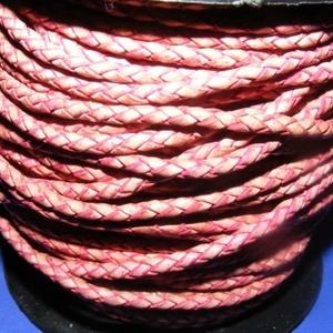 Fonott bőrszíj - 2,5 mm (1. minta/0,5 m) - pink, Vegyes alapanyag, Egyéb alapanyag,  Fonott bőrszíj (1. minta) - pinkValódi bőr alapanyagból készült fonott, hengeres szíj.Átmérője: 2,5..., Meska