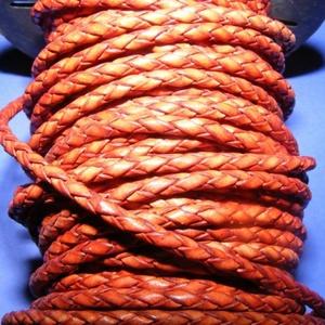 Fonott bőrszíj - 2,5 mm (20. minta/0,5 m) - vöröses barna, Vegyes alapanyag, Egyéb alapanyag,  Fonott bőrszíj (20. minta) - vöröses barnaValódi bőr alapanyagból készült fonott, hengeres szíj.Átm..., Meska