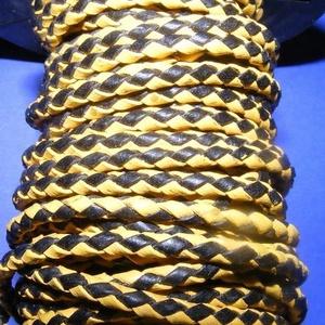 Fonott bőrszíj - 2,5 mm (6. minta/0,5 m) - fekete/sárga, Vegyes alapanyag, Egyéb alapanyag,  Fonott bőrszíj (6. minta) - fekete/sárgaValódi bőr alapanyagból készült fonott, hengeres szíj.Átmér..., Meska