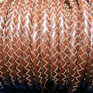 Fonott bőrszíj - 6 mm (2. minta/0,5 m) - barna, Vegyes alapanyag, Egyéb alapanyag, Bőrművesség, \nFonott bőrszíj (2. minta) - barnaValódi bőr alapanyagból készült fonott hengeres szíj.Átmérője: 5 m..., Meska