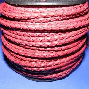 Fonott bőrszíj - 4 mm (1. minta - MŰBŐR/1 m) - bordó, Vegyes alapanyag, Egyéb alapanyag,  Fonott bőrszíj (1. minta) - bordó - műbőr  Műbőr alapanyagból készült fonott hengeres szíj. Átmérő..., Meska