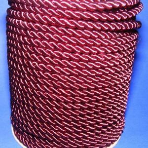 Sodrott zsinór - 5 mm (ZS52S/1 m) - bordó, Gyöngy, ékszerkellék, Ékszerkészítés,  Sodrott zsinór (ZS52S) - bordó  Színes nylon sodrott zsinórAjánlott karkötők, nyakláncok készítésé..., Alkotók boltja