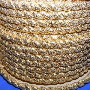 Sodrott zsinór - 6 mm (ZS102/1 m) - arany, Gyöngy, ékszerkellék,  Sodrott zsinór (ZS102) - arany  Színes nylon sodrott zsinórAjánlott karkötők, nyakláncok készítéséh..., Meska