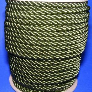 Sodrott zsinór - 6 mm (ZS103S/1 m) - olajzöld, Gyöngy, ékszerkellék,  Sodrott zsinór (ZS103S) - olajzöld  Színes nylon sodrott zsinórAjánlott karkötők, nyakláncok készít..., Meska