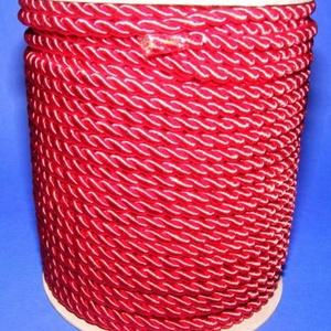Sodrott zsinór - 8 mm (ZS52SA/1 m) - skarlátpiros, Gyöngy, ékszerkellék,  Sodrott zsinór (ZS52SA) - skarlátpiros  Színes nylon sodrott zsinórAjánlott karkötők, nyakláncok ké..., Meska