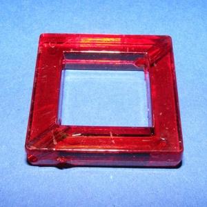 Akril gyöngy-6 (1 db) - piros négyzet (csimbo) - Meska.hu