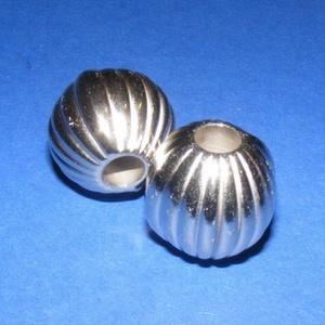 Felületkezelt műanyag köztes-54 (gömb - függőleges csíkos/1 db) - gyöngy, ékszerkellék - Meska.hu
