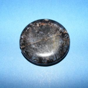 Ásványgyöngy-105 (Ø 40 mm/1 db) - átlátszó/fekete kerek (csimbo) - Meska.hu