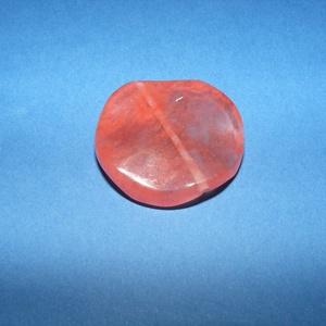 Ásványgyöngy-112 (Ø 30 mm/2 db) - átlátszó/korall hullámos kerek (csimbo) - Meska.hu