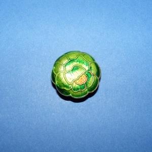 Zománcgyöngy-5 (18 mm/1 db) - zöld virág, Gyöngy, ékszerkellék,  Zománcgyöngy-5 (Cloisanne) - virág  Mérete: 18 mm  Az ár egy darab gyöngyre vonatkozik.  A termék e..., Meska