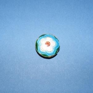 Zománcgyöngy-7 (18 mm/1 db) - kék virág, Gyöngy, ékszerkellék,  Zománcgyöngy-7 (Cloisanne) - kék virág  Mérete: 18 mm  Az ár egy darab gyöngyre vonatkozik.  A term..., Meska