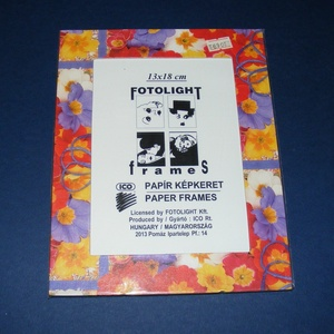 Papír fotókeret-8 (13x18 cm/1 db) - üveglappal, Vegyes alapanyag,  Papír fotókeret-8 - üveglappal - 13x18 cm-es képhez - virág mintás  Mérete: 18x23 cmKeretvastagság:..., Meska
