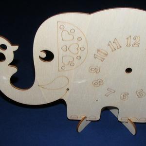 Fa óralap (26x16,5 cm/1 db) - elefánt kismadárral (csimbo) - Meska.hu