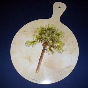 Műanyag óralap (33x24 cm/1 db) - pálmafa, Órakészítés, Óralapok,    Műanyag óralap - pálmafa  Mérete: 33x24 cm (számlap átmérő: Ø 24 cm)Vastagsága: 4 mmFurat: 8 mm A..., Meska