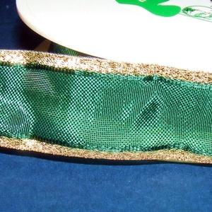 Organzaszalag (20. minta/1 m) - sötétzöld/arany lurex (csimbo) - Meska.hu