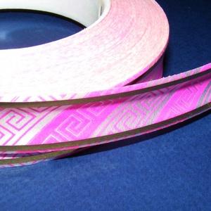 Kötözőszalag (20 mm/1 m) - rózsaszín/fehér görög mintás (csimbo) - Meska.hu