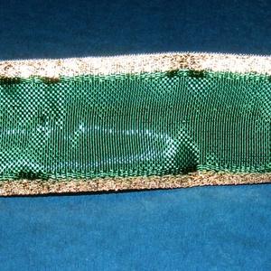Szalag (21. minta/1 m) - sötétzöld/arany lurex (csimbo) - Meska.hu