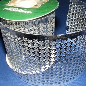 Szalag (39. minta/1 m) - metál ezüst csillagos (csimbo) - Meska.hu