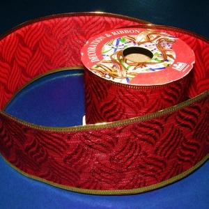 Szalag (44. minta/1 tekercs) - piros/arany levélmintás (csimbo) - Meska.hu