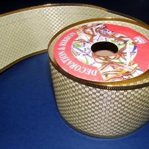 Szalag (45. minta/1 tekercs) - krém/arany kockás (csimbo) - Meska.hu