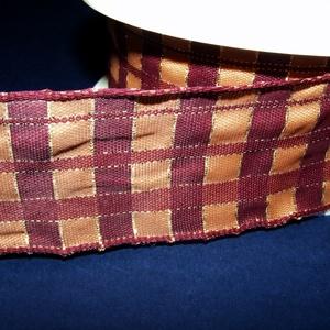 Szalag (49. minta/1 m) - narancssárga/bordó kockás, Textil, Varrás, \nTaft szalag (49. minta) - narancssárga/bordó kockás - arany csíkokkal - dróttal\n\nA taft tekercs sűr..., Meska