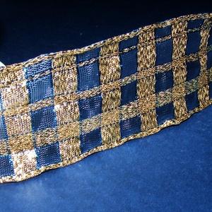 Szalag (52. minta/1 m) - arany/kék kockás (csimbo) - Meska.hu