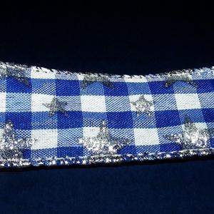 Szalag (53. minta/1 m) - kék/fehér kockás csillagokkal (csimbo) - Meska.hu