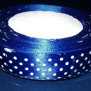 Szalag (56. minta/1 m) - kék pöttyös, Textil, Varrás,  Atlasz szalag (56. minta) - kék alapon fehér pöttyös (csak az egyik oldalon mintás)  Anyaga: 100% ..., Alkotók boltja