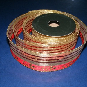 Szalag (86. minta/1 m) - piros/arany karácsonyi (csimbo) - Meska.hu