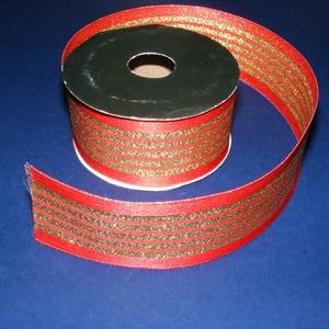 Szalag (87. minta/1 m) - piros/arany csíkos, Textil, Varrás, \nDekorszalag (87. minta) - piros/arany csíkos - dróttal\n\nA szalag sűrű, fényes, vászonkötésű dekorat..., Meska