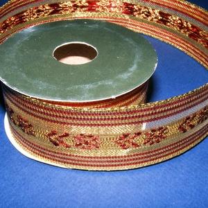Szalag (87/A minta/1 m) - piros/arany karácsonyi, Textil, Varrás, \nDekorszalag (87/A minta) - piros/arany karácsonyi - dróttal\n\nA szalag sűrű, fényes, vászonkötésű de..., Meska