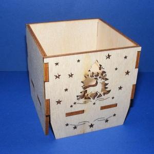 Karácsonyi mécsestartó (szarvas/1 db) - összerakható, Fa,  Karácsonyi mécsestartó - összerakható - szarvas     Mérete: 6,5x6,5 cmMagassága: 7 cmAnyaga: natúr ..., Meska