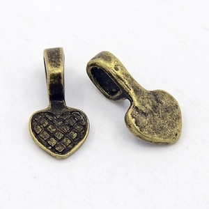 Medálrögzítő (353. minta/1 db) - szív, Gyöngy, ékszerkellék,  Medálrögzítő (353. minta) - ragasztható - antik bronz színben - szív - Nikkel-, ólom- és kadmiummen..., Meska