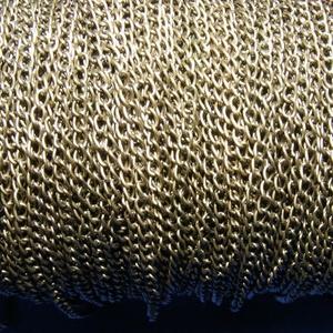 Bronz színű lánc (59/A minta/1 m) - 2,5x3,5x0,6 mm, Gyöngy, ékszerkellék,  Bronz színű lánc (59/A minta) - nikkel-, ólom- és kadmiummentes  A szem mérete: 2,5x3,5x0,6 mm  A f..., Meska