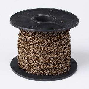 Bronz színű lánc (1/A minta/1 m) - 4x3x0,7 mm - Meska.hu