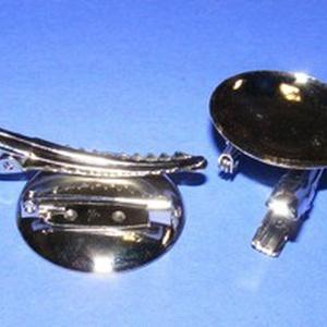 Kitűző alap (410/A minta/1 db) - kombinált, Gyöngy, ékszerkellék,  Kombinált bross/jelvény alap (410/A minta) - kerek - nikkel színben  Mérete: 30x45x7 mmA tárcsa mér..., Meska