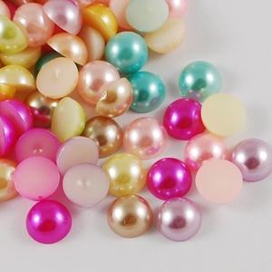 Fél teklautánzat-4 (Ø 12 mm/20 db) - mix, Gyöngy, ékszerkellék,  Fél teklautánzat-4 - vegyes színek  Mérete: Ø 12 mmMagassága: 6 mm  Csomag tartalma: 20 db gyöngy A..., Meska