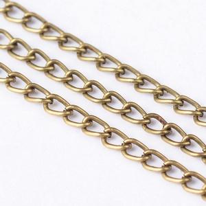 Bronz színű lánc (59. minta/1 m) - 3x2,2x0,6 mm, Gyöngy, ékszerkellék,  Bronz színű lánc (59. minta)  A szem mérete: 3x2,2x0,6 mm  A feltüntetett ár 1 méter láncra vonatko..., Meska