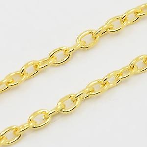 Arany színű lánc (3. minta/1 m) - 4x3x0,7 mm (csimbo) - Meska.hu