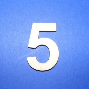 Fa szám (45x35 mm/1 db) - 5, Fa,  Fa szám - 5    Mérete: 45x35 mmAnyaga: natúr rétegelt lemezAnyagvastagság: 3 mm Az ár egy darab t..., Meska