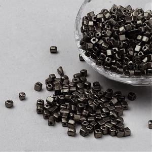 Szögletes gyöngy (28. minta/15 g) - fényes sötétszürke - Meska.hu