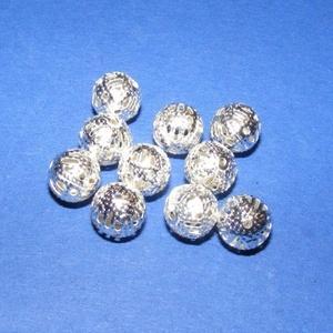Díszes gömb (670. minta/10 db), Gyöngy, ékszerkellék,  Díszes gömb (670. minta) - ezüst színben - áttört mintával - belül üreges  Mérete: 8 mm Az ár 10 d..., Meska