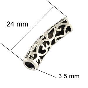 Cső-24 (24x6 mm/1 db), Gyöngy, ékszerkellék,  Cső-24 - antik ezüst színben  Mérete: 24x6 mm (belül: 3,5 mm)  Az ár egy darab termékre vonatkozik...., Meska