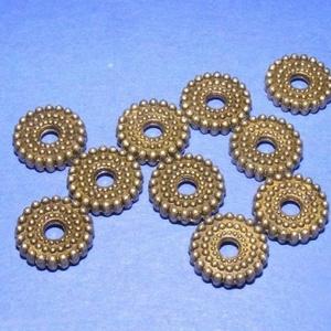 Bronz köztes (550. minta/1 db), Gyöngy, ékszerkellék, Ékszerkészítés, \nBronz köztes (550. minta) \n\nMérete: 10x2 mm; a furat mérete: 3 mm\n\nAz ár 1 db termékre vonatkozik...., Meska