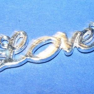 """Köztes (671. minta/1 db) - """"love"""", Gyöngy, ékszerkellék,  Köztes (671. minta) - """"LOVE"""" - ezüst színben  Mérete: 33x10x1,5 mm  Az ár egy darab termékre vonatk..., Meska"""