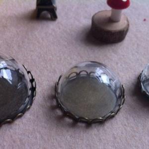 Üveg félgömb (927. minta - � 20 mm/1 db) - gyöngy, ékszerkellék - cabochon - Meska.hu