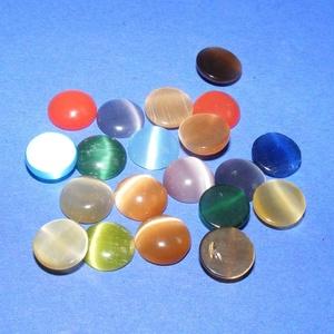 Macskaszem-10 (Ø 8 mm/20 db) - kerek, vegyes színek, Gyöngy, ékszerkellék, Cabochon,  Macskaszem-10 - kerek - vegyes színek  Mérete: Ø 8 mmMagassága: 3 mm  A lencséhez rendelhető a 135/..., Meska