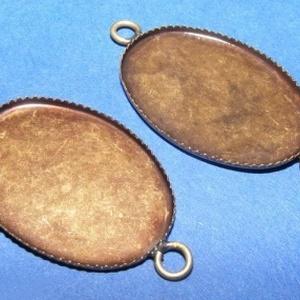 Medál alap (127. minta/1 db), Gyöngy, ékszerkellék,  Kombinált medál alap (127. minta) - ovális - antik bronz színben  Az alkatrészből medált és karkötő..., Meska