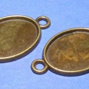 Medál alap (127/B minta/1 db), Gyöngy, ékszerkellék,  Kombinált, öntött medál alap (127/B minta) - ovális - antik bronz színben  Az alkatrészből me..., Meska